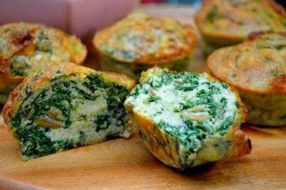 """Olive, Spinach and Spring Onion """"No Bread"""" Muffins 