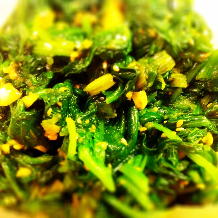 Blanched spinach with garlic, green onions, soy and sesame oil.