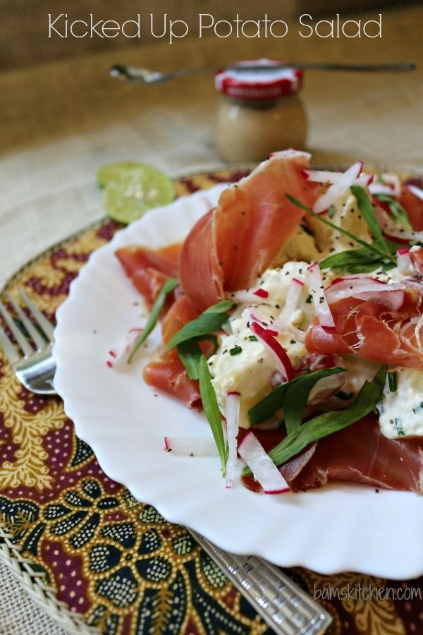 Kicked up Potato Salad with Horseradish sauce, tarragon and proscuitto ...