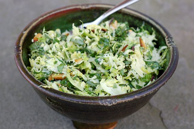 Kale & Brussels Sprout Salad With Toasted Almonds & Parmesan