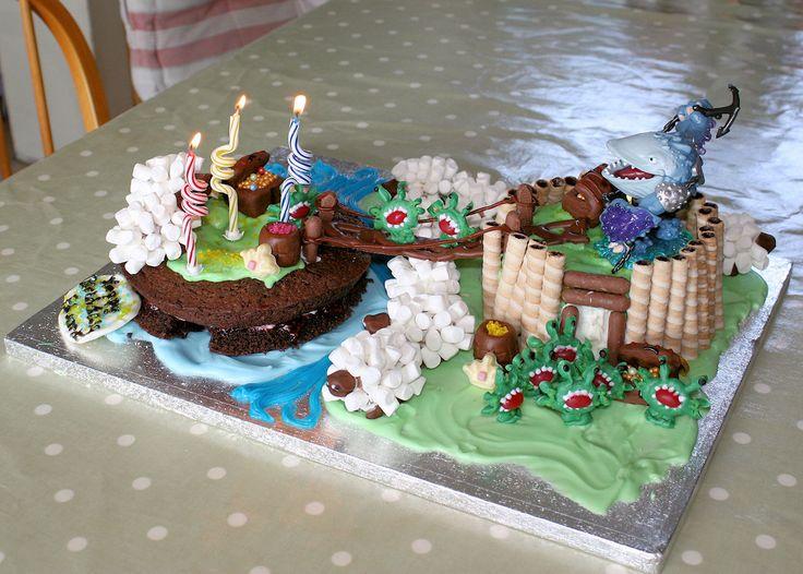 Skylanders birthday cake with chompies, sheep, bridge and Thumpback!