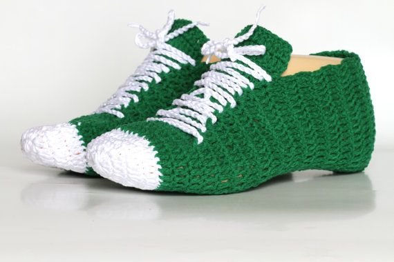 HOLIDAY SALE Green white Crocheted sneakers by ettygeller on Etsy, $24
