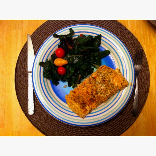 Lemon - Oregano Salmon With Roasted Tomatoes Recipe — Dishmaps