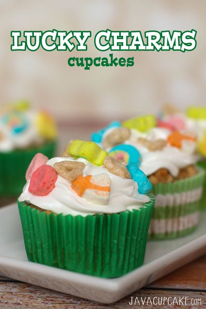 ... Day with these festive and fun Lucky Charms Cupcakes | JavaCupcake.com