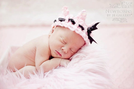 Newborn Baby Pink Knitted Crown with Black Satin by pinkiebows, $14.00