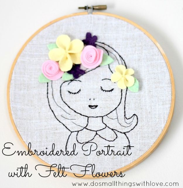 Embroidered Portrait with Felt Flowers - Do Small Things with Love