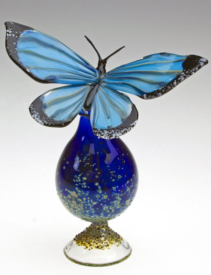 """Blue Morpho Bottle"" Art Glass Perfume Bottle Created by Loy Allen"