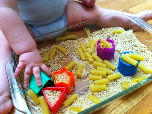 Play Create Explore: Baby Sensory Bin: Noodles, Rice, and Shapes