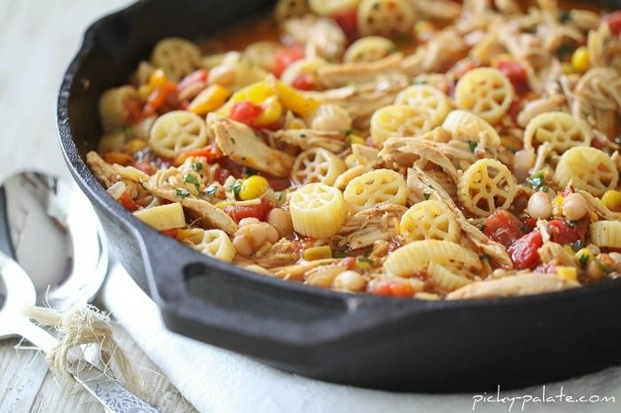 Southwest Chicken Chili Mac…Skillet Style 8 ounces wagon wheel pasta ...