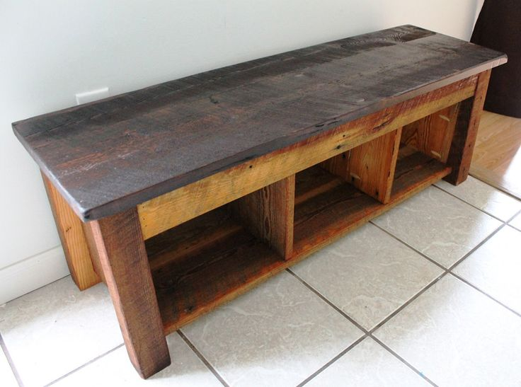 Handmade Bench Shelves Hidden Storage Reclaimed Barn Wood 14 W X