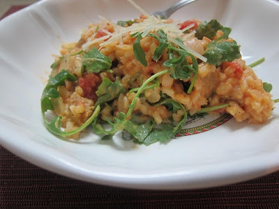 Tomato and 'Sausage' Risotto with Arugula | TheEconomicalEater.com # ...