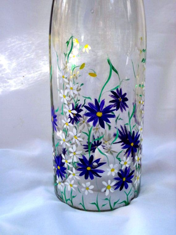 Recycled wine bottle tea light candle cover hand painted for Painting flowers on wine bottles
