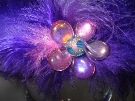Purple Feathered Iridescent  Pink Glass by SavvyEmbellishments, $11.95