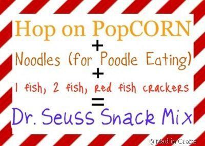 Dr. Seuss snack ideas.