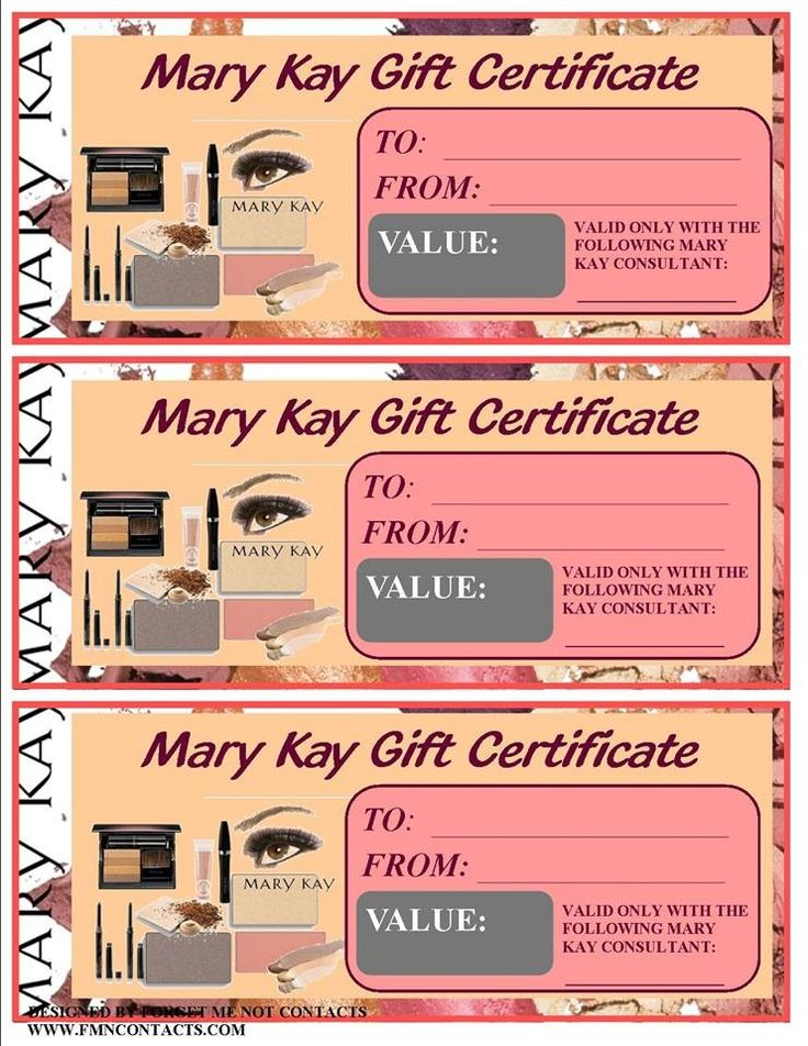 MK gift certificates | Mary Kay Partys | Pinterest