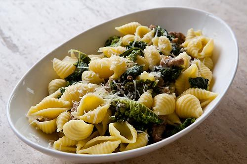 Shell pasta with sausage and greens recipe, made with shell pasta ...