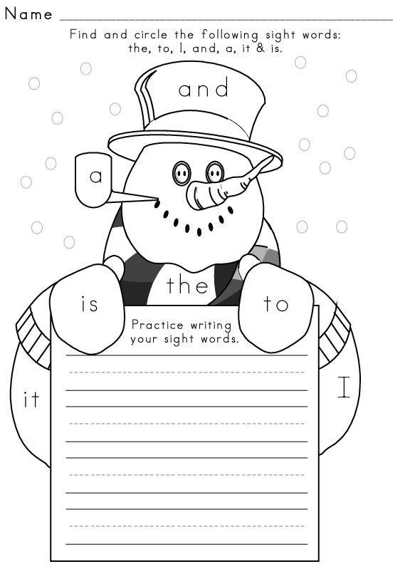 Sight-Word-Worksheet-Winter-1 | Sight Word Activities | Pinterest