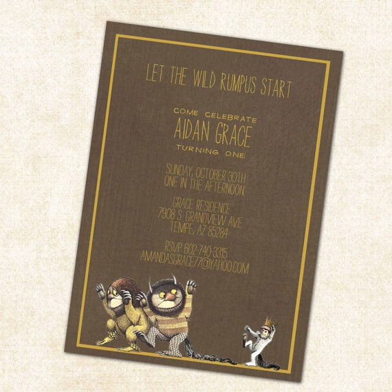 where the wild things are birthday party invitations or baby shower