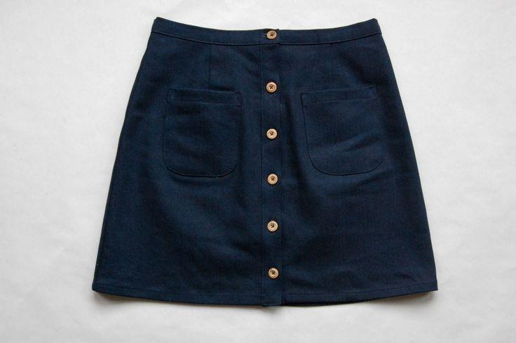 denim button up skirt