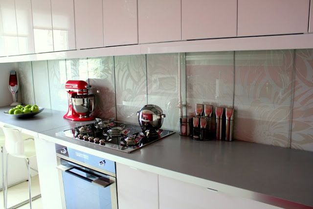 customized glass backsplash from glass shelves ikea hackers clever
