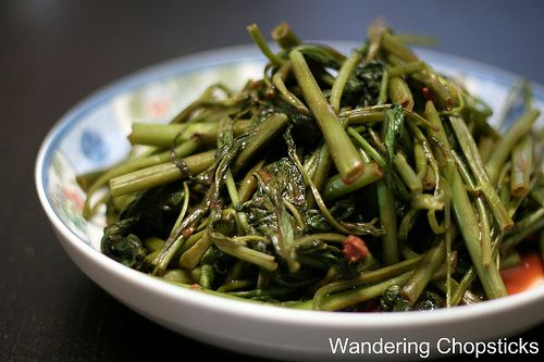 ... Chinese Water Spinach Stir-fried with Garlic and Fermented Bean Curd