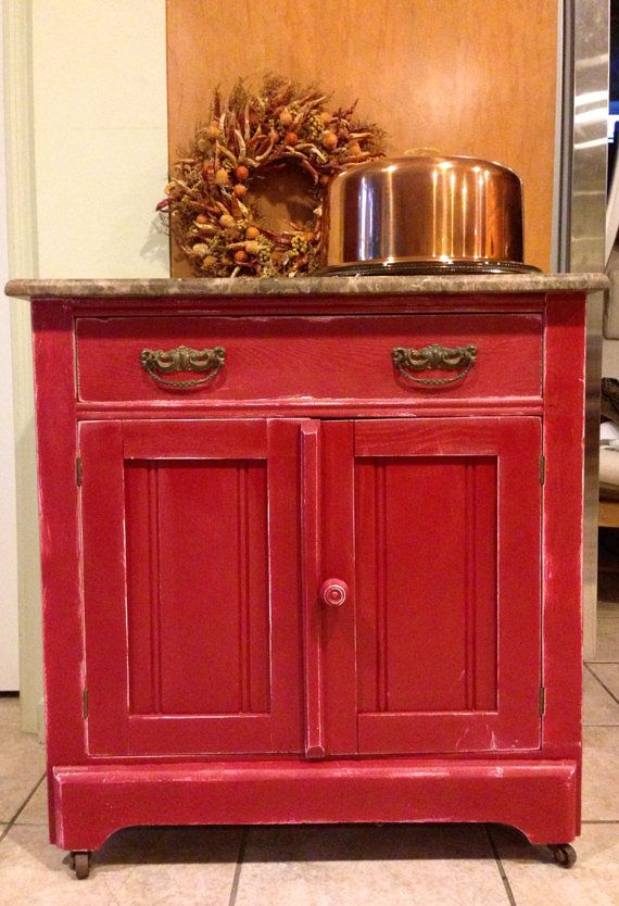 red brick painted antique cabinet wash stand