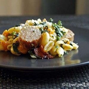 Pasta with Sausage, Butternut Squash and Spinach