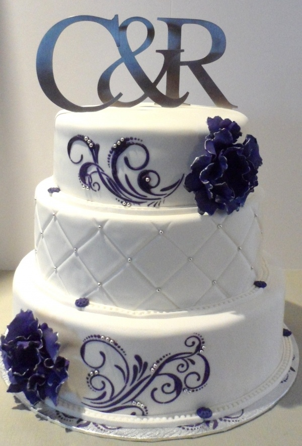 Purple Amp Silver Theme Purple White Silver 3 Tier Wedding Cake With Floral Detail