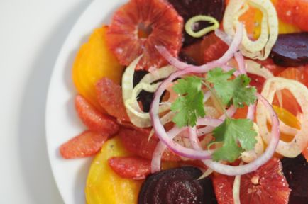 ... orange, red onion, golden beet, cilantro, blood orange, fennel, red