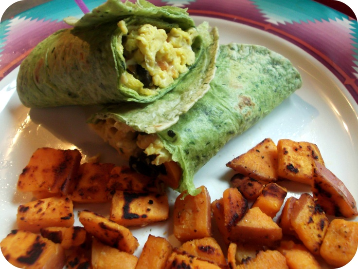 ... : spinach egg black bean burrito, and sweet potato hash browns
