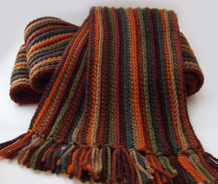striped autumn scarf merino wool crochet scarf in warm