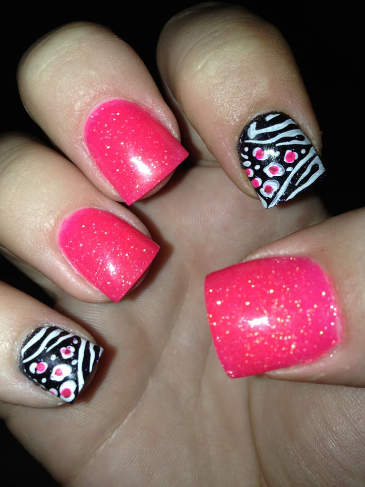 Acrylic Nails! Hot Pink And Zebra(: | Nails | Pinterest