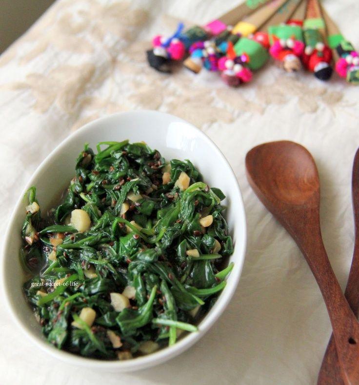 Spinach Garlic w/ Sesame Seeds | Recipes | Pinterest