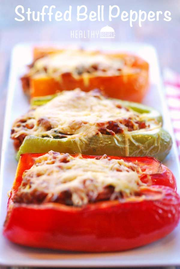 Stuffed Bell Peppers ( no olive oil, 96% ground beef, 2% cheese or ...