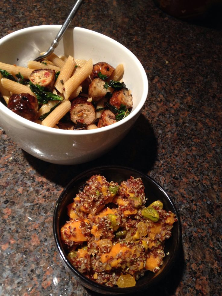: sautéed kale & garlic with chicken sausage with whole wheat pasta ...