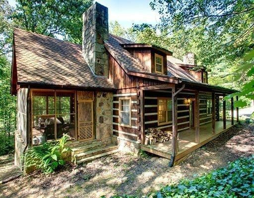 Rustic cabin home cabin lake house style pinterest for Log cabin screened in porch
