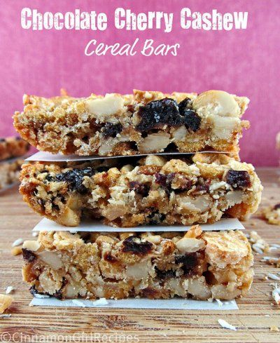 White Chocolate Cherry Cashew Cereal Bars by Cinnamon Spice and ...