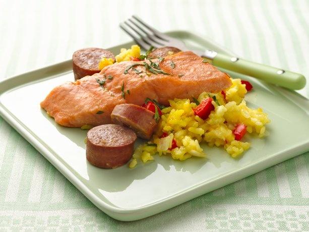 Salmon Paella Bake | Recipe