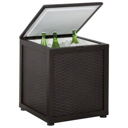 Threshold belvedere wicker patio side table with cooler for Outdoor coffee table with cooler