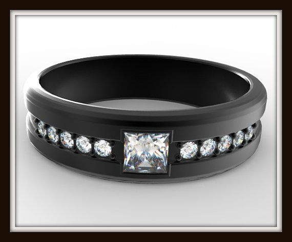 Unusual Rings For Men Black Gold Wedding Ban...