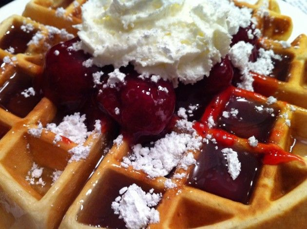 Belgian Waffle With Strawberries | W-A-F-F-L-E | Pinterest