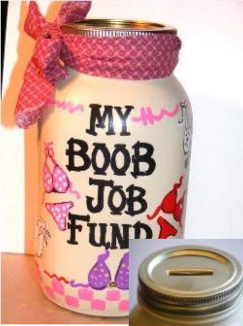 Oh my gosh, totally getting this! A fun way to raise money for fake boobies. <3