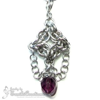 Byzantine-Olivia style Chainmaille Weave Pendant with wire wrapped Firepolished faceted round Czech Glass Bead.  #chainmaille #pendant #necklace #celebrity #celebrities #vanessalachey #handmadejewelry #theartisangroup #sanikicreations