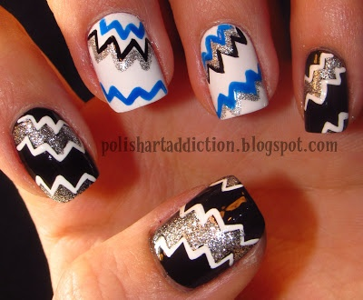 Zig zag nail design | Hair & Beauty | Pinterest
