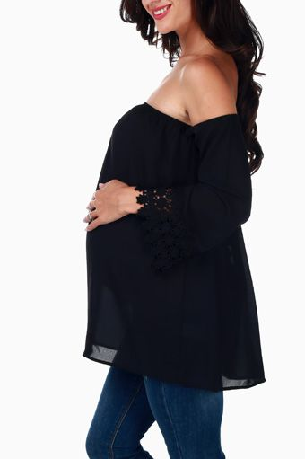 Black Crochet Accent Open Sleeve Maternity Blouse
