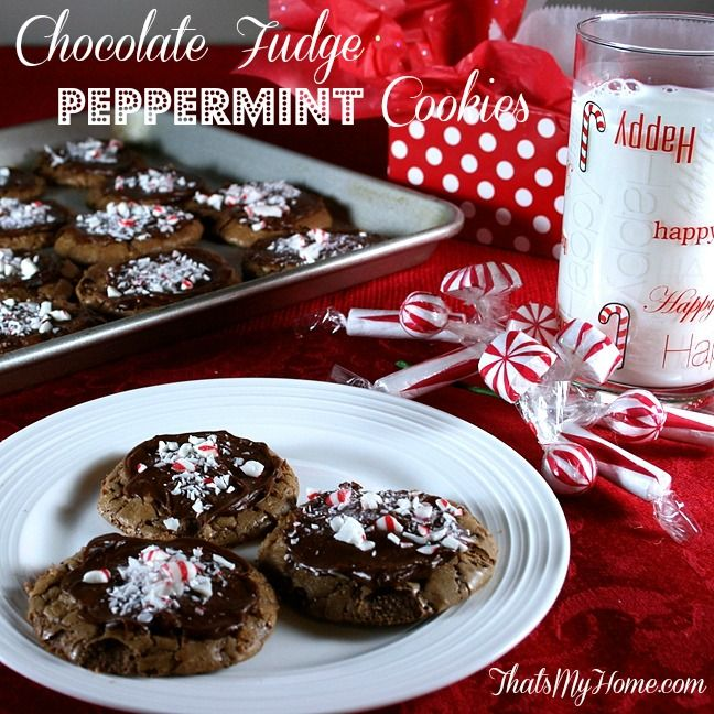 Chocolate Fudge Peppermint Cookies {Recipes Food and Cooking}