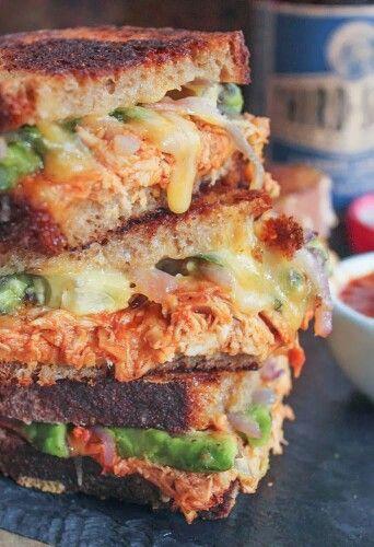 BBQ Chicken Grilled Cheese Sandwich | ScrumptiouS | Pinterest