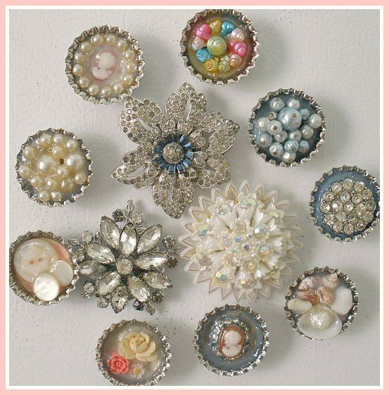 Coke bottle caps .. beads buttons tiny sea shells, memory your old barbie shoes.., and what a great idea for that beautiful big costume jewelry ... REmember to offset magnet towards top if there is top and bottom so it doesn't spin to side ... ALSO lay a string down the backside & glue another one to it, back to back for Christmas ornaments ---pretty magnets | Flickr - Photo Sharing!