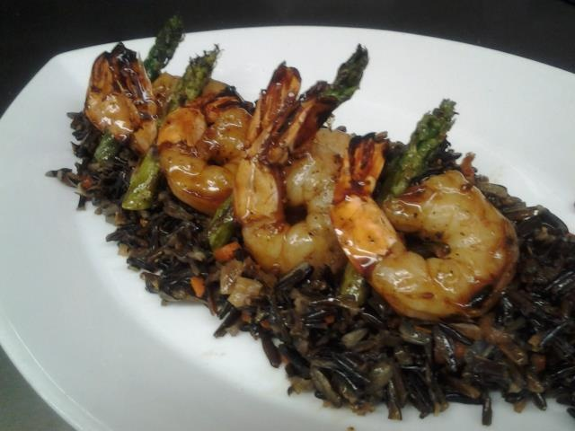 Flame grilled shrimp w/pineapple teriyaki glaze. Served with wild rice ...