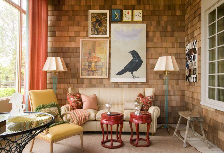 Interior desogn blogs living room jay jeffers wood shingle wall